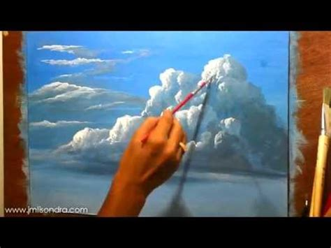 intermediate acrylic painting ideas how to paint clouds in acrylic painting
