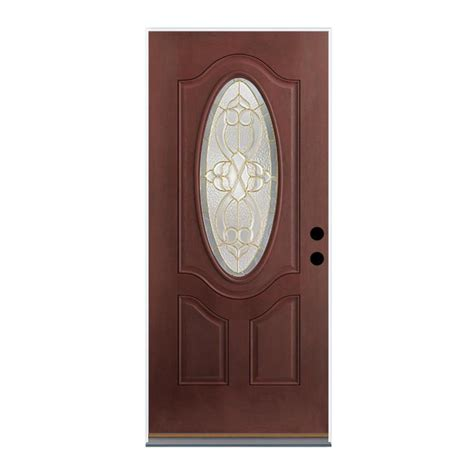 Therma Tru Exterior Doors Fiberglass Shop Therma Tru Benchmark Doors Willowbrook Right Outswing Mahogany Stained Fiberglass