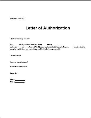 authorization letter use of property authorization letter sle template for claiming