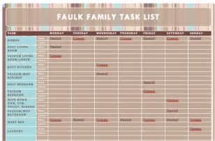 Chore List Templates Camee And Daniel Faulk Faulk Family Task List