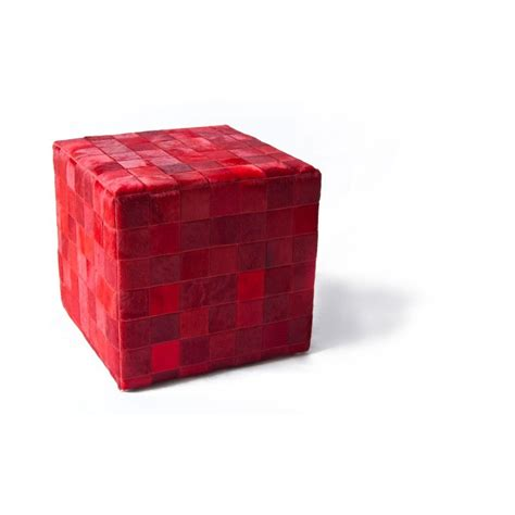 cowhide cube pouf mosaic patchwork rosso fur home