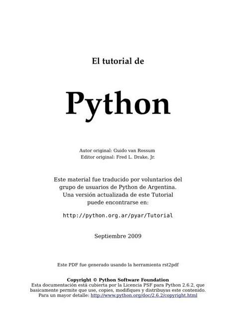 tutorial python pdf pdf de programaci 243 n el tutorial de python 2