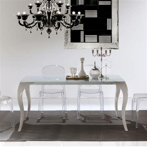 tavolo soggiorno vetro tavolo moderno allungabile con gambe a sciabola e piano in