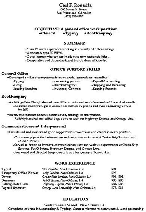 Exles Of Clerical Resumes by The World S Catalog Of Ideas