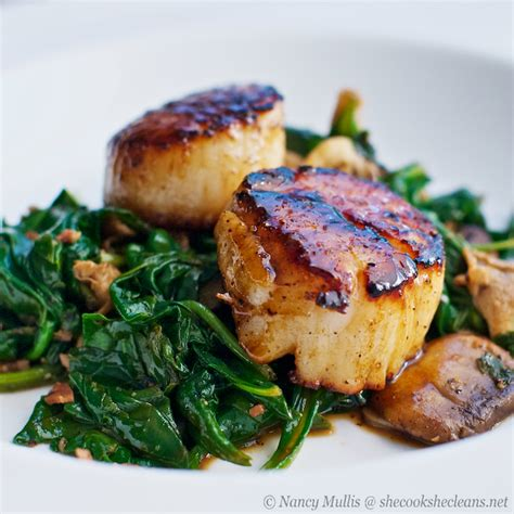 seared scallops with apple cider balsamic glaze she cooks he cleans