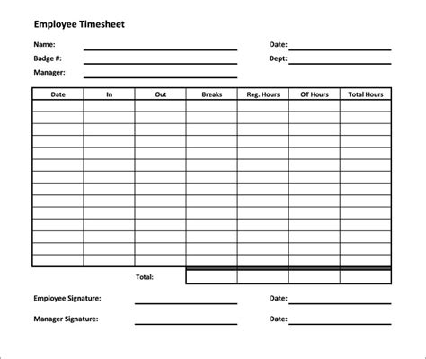 work time card template employee time sheet templates beneficialholdings info