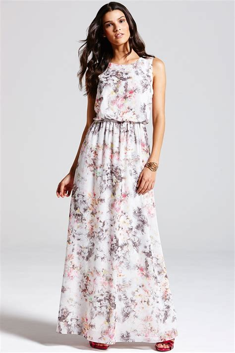 grey blurred floral print maxi dress from uk