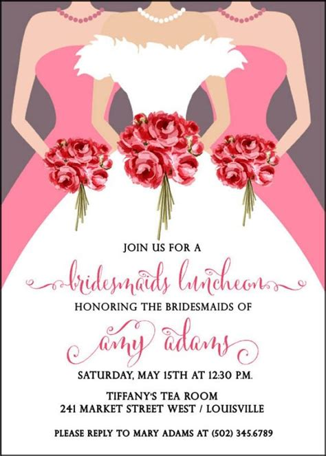invitations for bridal shower luncheon bridesmaids luncheon invitation bridal brunch invitation
