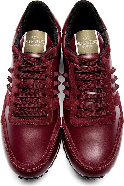 mens burgundy sneakers valentino burgundy leather and suede rockstud sneakers in