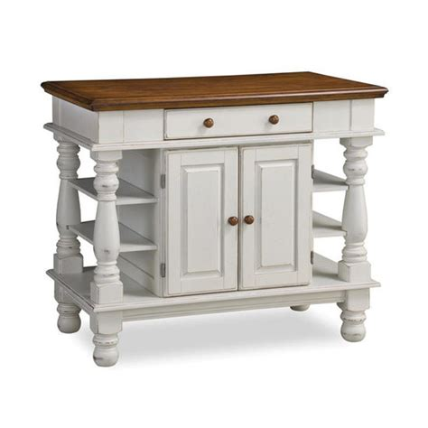 home styles americana kitchen island in antique white sanded distressed finish with free