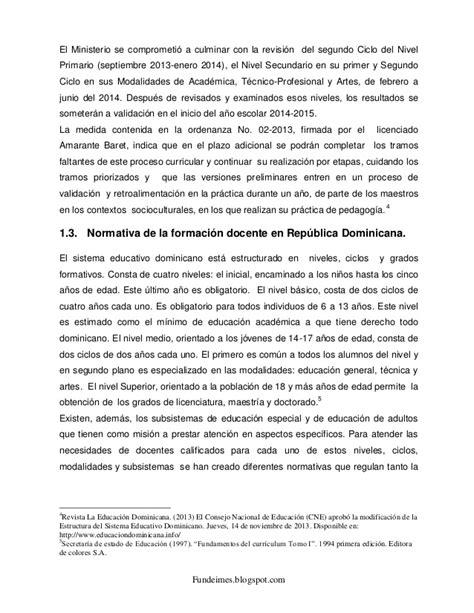 Diseño Curricular Dominicano Nivel Primario Segundo Ciclo Antecedentes De La Evaluacion De Desempe 209 O Docente En Republica Domi