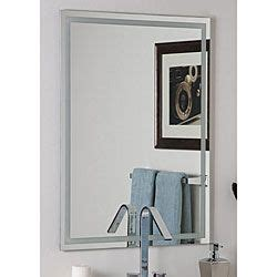 bathroom mirrors overstock overstock frameless etch mirror features carved