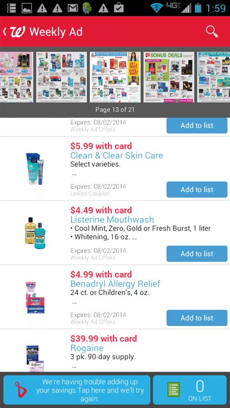 walgreens app coupons not working