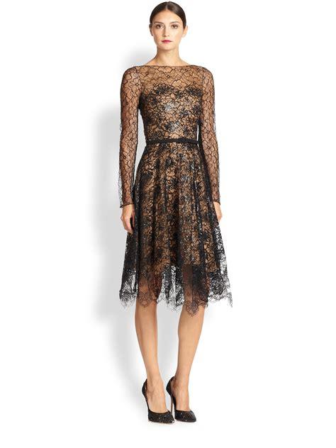 Lace Rienta lyst oscar de la renta lace cocktail dress in black