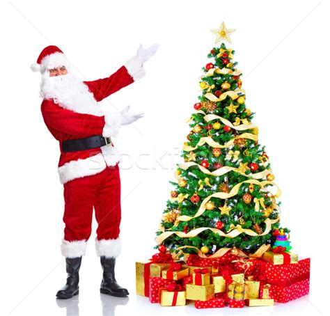 santa claus and christmas tree stock photo 169 kurhan