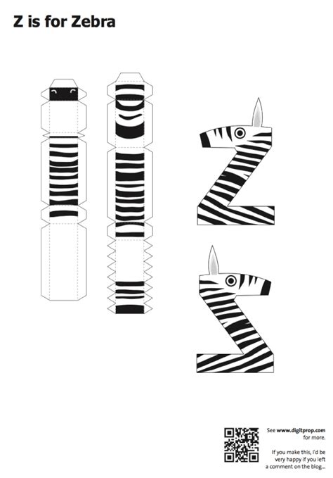 Papercraft Alphabet - zebra paper craft