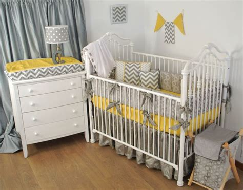 Yellow And Grey Elephant Crib Bedding by Grey And Yellow Gender Neutral Crib Bedding With Bright
