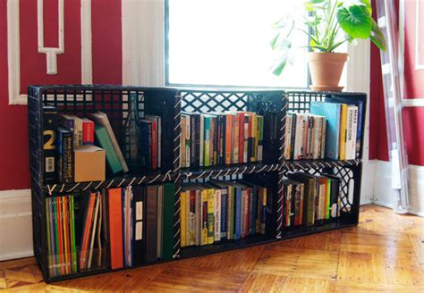 milk crate shelves on milk crate furniture