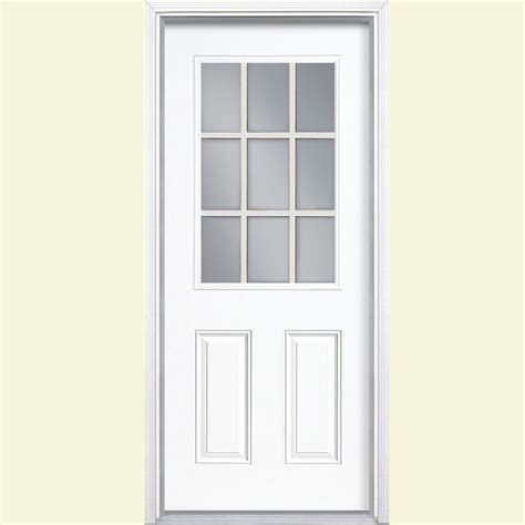 32x78 Exterior Door Masonite 32 In X 80 In 9 Lite Painted Steel Prehung Front Door With Brickmold 26783 The Home