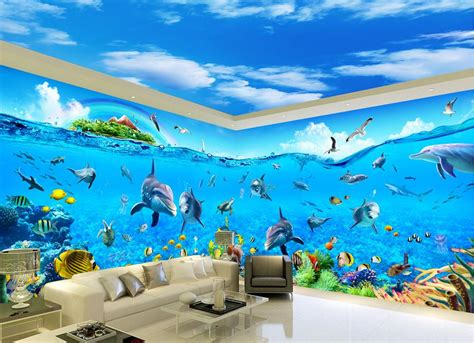 Fish Stickers For Walls online buy wholesale ocean wallpaper from china ocean