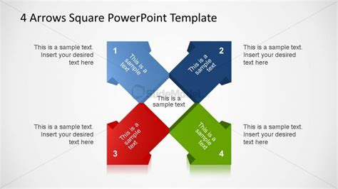 4 3d Arrows Square Powerpoint Template Slidemodel Squares Powerpoint Template 2