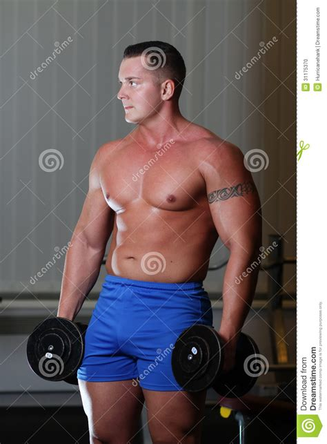 powerlifter with dumbels in gym stock photo image 31175370