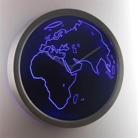 Neon Sign Decor by Nc0986 B World Map Decor Neon Sign Led Wall Clock Ebay