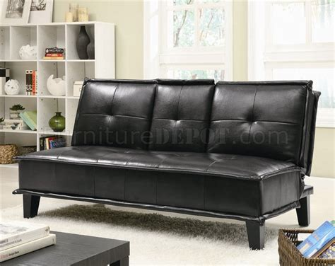 flip down sofa bed black leather like vinyl modern sofa bed w flip down tray