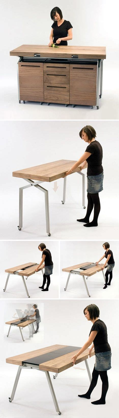 compact furniture design kitchen workspace converts to dining table dornob