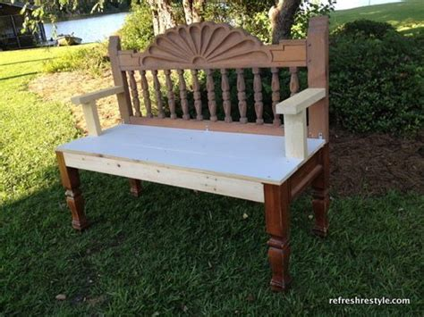 making a bench from a headboard make a bench out of a headboard and footboard how to make a bench refresh restyle