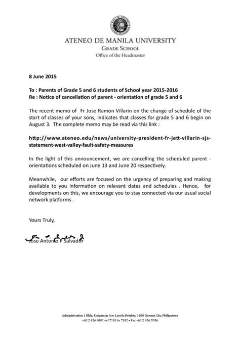 cancellation letter sle for condominium notice of cancellation of parent orientation of grades 5 and 6 ateneo de manila