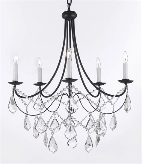 A7 B12 403 5sw Gallery Wrought With Crystal Wrought Iron Black Iron Chandelier With Crystals