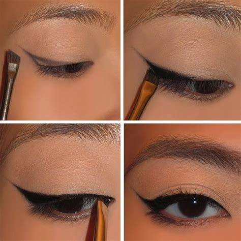 eyeliner tutorial with angled brush perfect way to apply cat eyeliner beauty zone