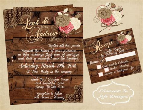 rustic vintage wedding invitation wedding rustic wedding