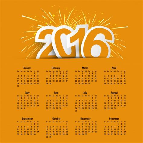 yellow new year 2016 calendar vector free download