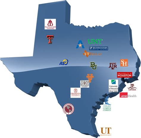 texas college map colleges in texas map