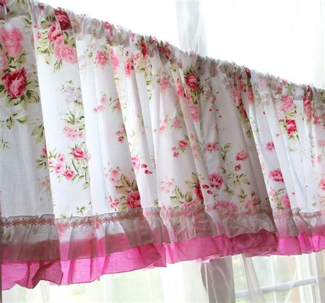 shabby curtains shabby country chic rose ruffled wildflower pink white