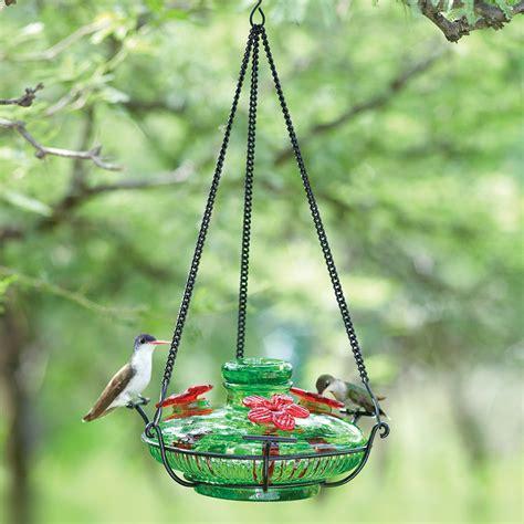 dew drop glass hummingbird feeder yard envy