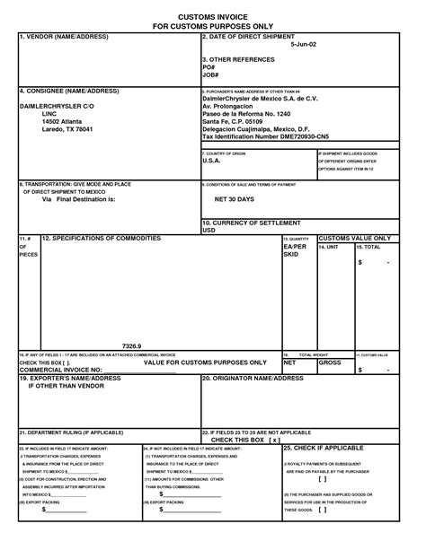 Us Customs Invoice Template by Commercial Invoice Template Canada Free Business Template
