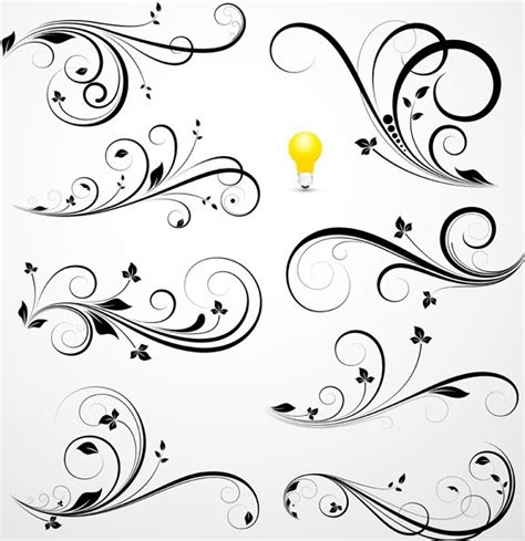 pattern swirl vector free flourish swirl floral corner patterns vector 04 titanui