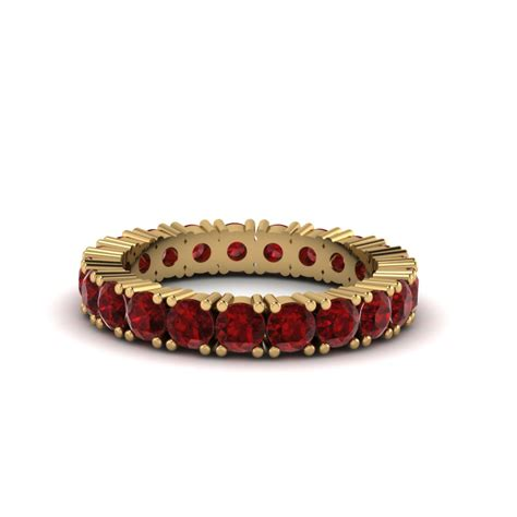 cut eternity ruby bands in 14k yellow gold