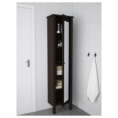 hemnes glass door cabinet hemnes high cabinet with mirror door black brown stain