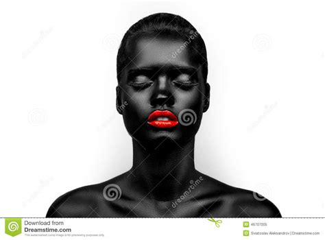 with skin black skin model with a stock photo