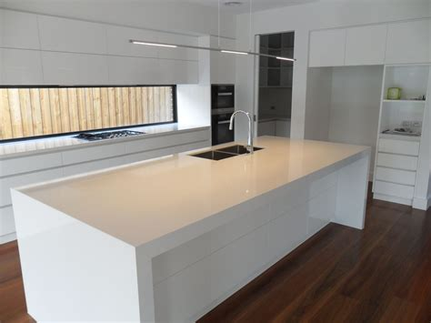 Kitchen Bench Design Contemporary Kitchen In White Fixed Window As A Splash