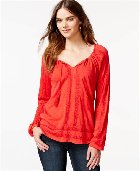 Lucky Blouse By lucky brand lucky brand embroidered peasant blouse in
