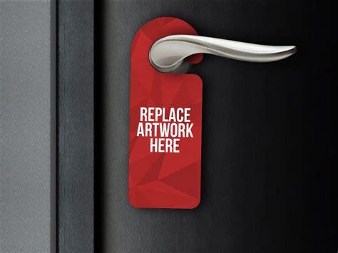 realistic door hanger mockup mockup love