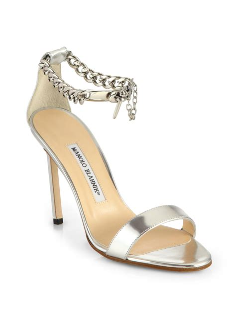 manolo blahnik sandals manolo blahnik chaos metallic leather ankle chain sandals