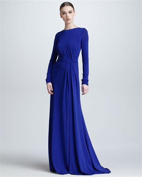 Abra Maxi Dress Purple Kklisse 1 elie saab sleeve gathered jersey gown in blue lyst