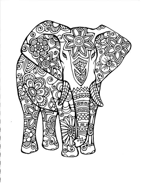 coloring pages for adults of elephants adult coloring page original hand drawn art in black and