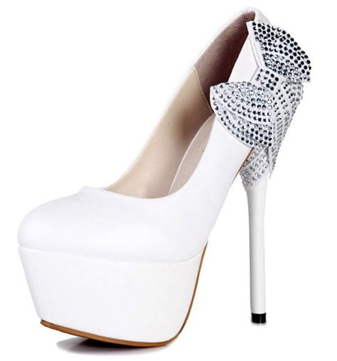 white high heels with bow white string bows princess stiletto high heels